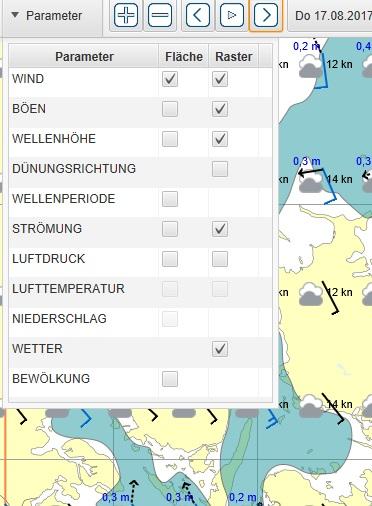 Software SEAMAN PRO - Kinderleicht zur Wetter Navigation Parameter Auswahl